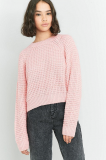 SL1041 Ex Chainstore Pink Waffle Knit Batwing Jumper x12