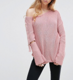 SL1022 Ex Chainstore Chunky Off Shoulder D Ring Jumper x10