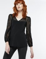 SL1121 Ex UK Chainstore Nelly Black Lace Insert Top (x7)