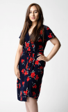 SL1047 Ex Chainstore Navy Floral Belted Tea Dress x12