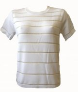 SL086 Ex UK Chainstore White Short Sleeve Ladder Jumper x12