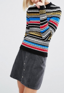 SL902 Ex UK Chainstore Stripe Jumper in Rib with High Neck x13