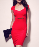 SL933 Ex UK Chainstore Red Sweetheart Chain Detail Dress x15