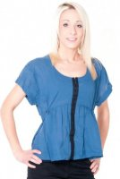 SL046 Ex UK Chainstore Blue Loose Hook & Eye Top x13