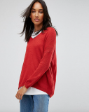 SL1341 Ex Chainstore Sheer Knit Jumper With V Neck - Red x12