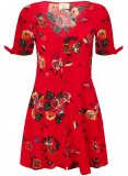 SL1251 Ex Chainstore Red Floral Printed Button Detail Dress x12