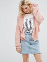 SL1028 Ex Chainstore Chunky Cardigan In Fluffy Rib - Pink x11