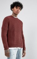 SM040 Ex UK Chainstore Rust Chunky Stitch Relaxed Fit Jumper x12
