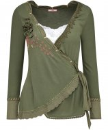 SL962 Ex UK Chainstore Khaki Embroidered Epitome Top x12