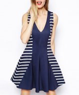 SL541 Ex UK Chainstore Cutabout Skater Dress In Stripe Print x8