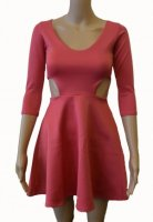 SL057 Ex UK Chainstore Pink Cut Out Side Skater Dress x8