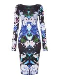 SL967 Ex UK Chainstore Floral Print Long Sleeve Midi Dress x12