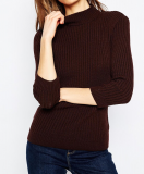 SL900 Ex Chainstore Jumper in Rib with High Neck - Chocolate x10