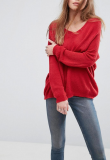 SL1033 Ex Chainstore Red Jumper In Sheer Knit With V Neck x11