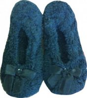 SL042 Ex UK Chainstore Black Fur Slippers x10