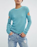 SL818 Ex Chainstore Ripple Stitch Jumper With Slash Sleeves x12
