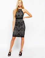 SL1320 Ex Chainstore High Neck Geo Lace Bodycon Dress x25