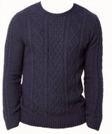 SM007 Ex UK Chainstore Denim Blue Cable Knit Jumper x12