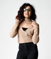 SL1053 Ex Chainstore Cropped Choker Jumper - Brown x12