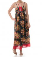 SL284 Ex UK Chainstore Floral Print Maxi Dress - Black x10