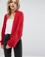 SL1085 Ex Chainstore Red Chunky Cardigan in Fluffy Rib x10