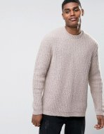 SM042 Ex Chainstore Beige Chunky Stitch Relaxed Fit Jumper x12
