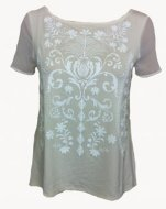 SL043 Ex UK Chainstore Cream Mesh Back Print Tee x8