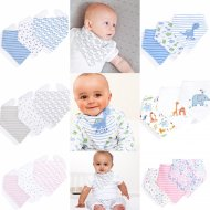 SC107 Ex Chainstore Printed Baby Dribble Bibs Assorted (x100)