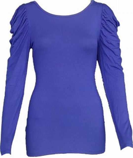 SL025 Ex UK Chainstore Purple Ruffle Sleeved Top x15