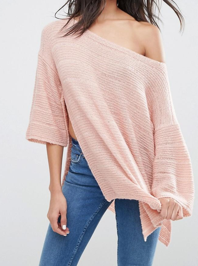 SL850 Ex UK Chainstore Boxy Jumper With Off Shoulder - Blush x13