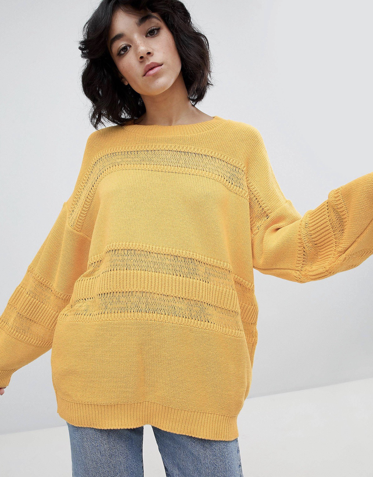 SL1386 Ex Chainstore Yellow Stitch Detail Oversized Jumper x13
