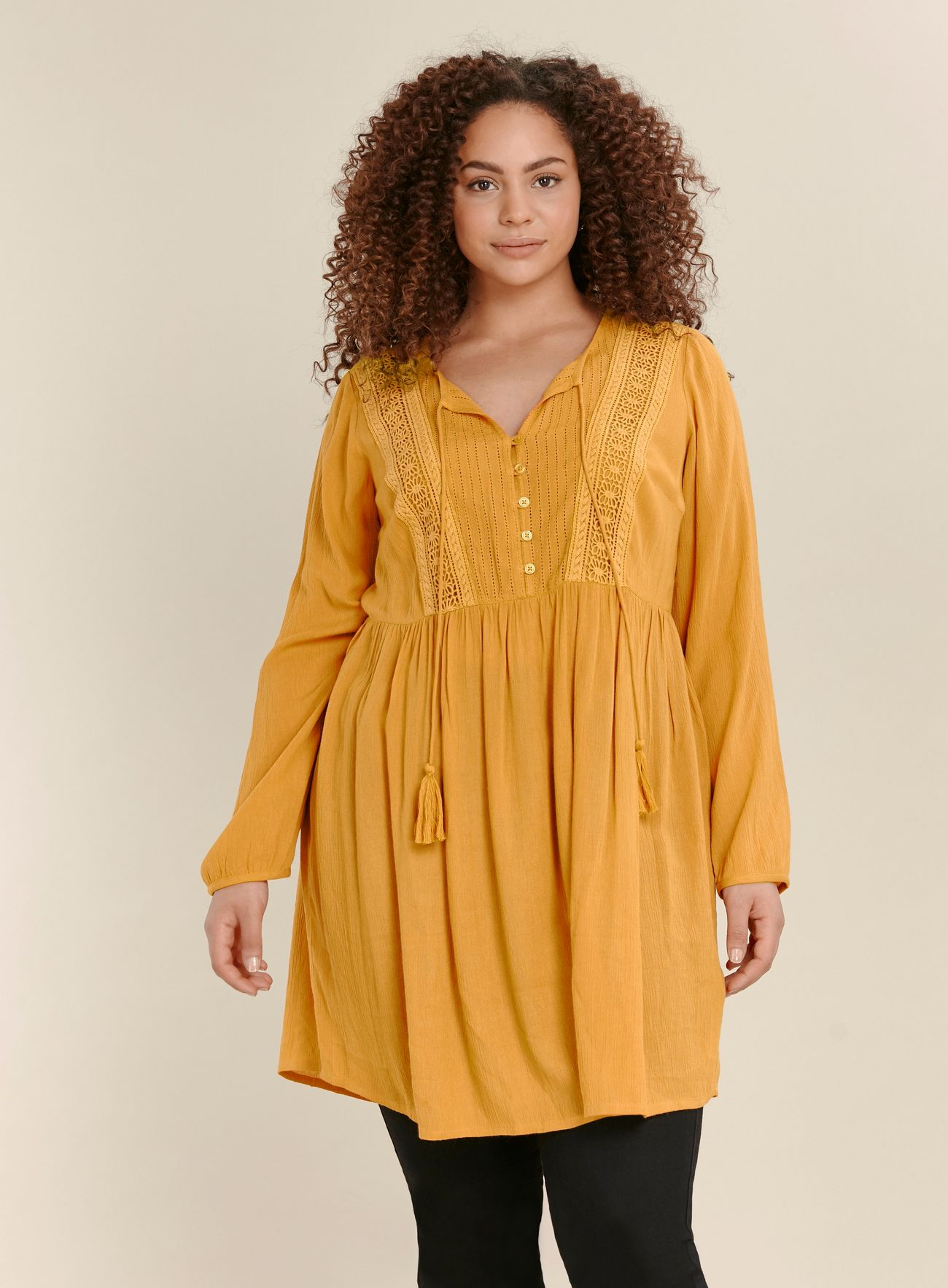 SL1461 Ex Chainstore Ochre Lace Detail Tunic Top x13