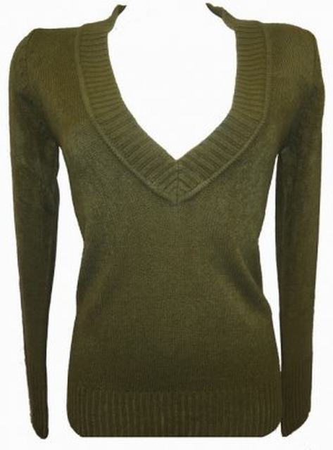 SL012 Ex UK chainstore V neck jumper khaki (x12)