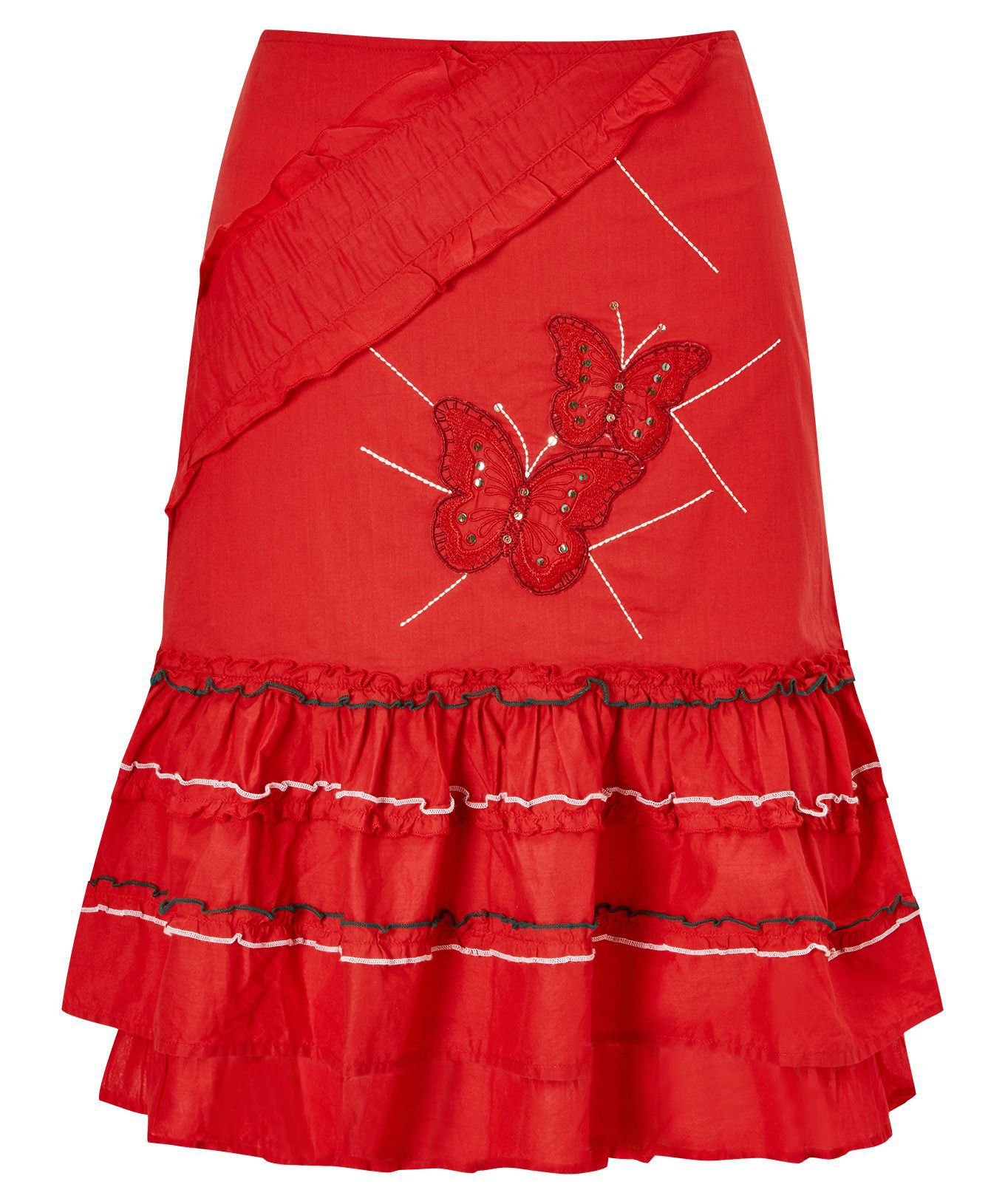 SL1452 Ex Chainstore Red Embroidered Salsa Skirt x12