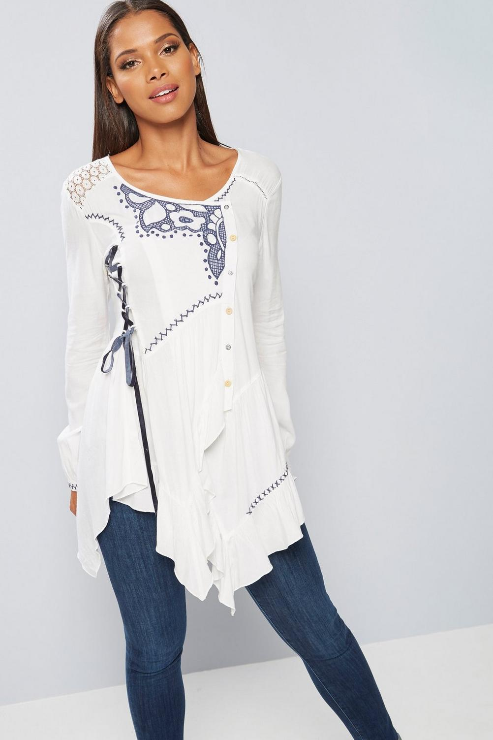 SL1456 Ex Chainstore Santorini White Lace Up Blouse x10