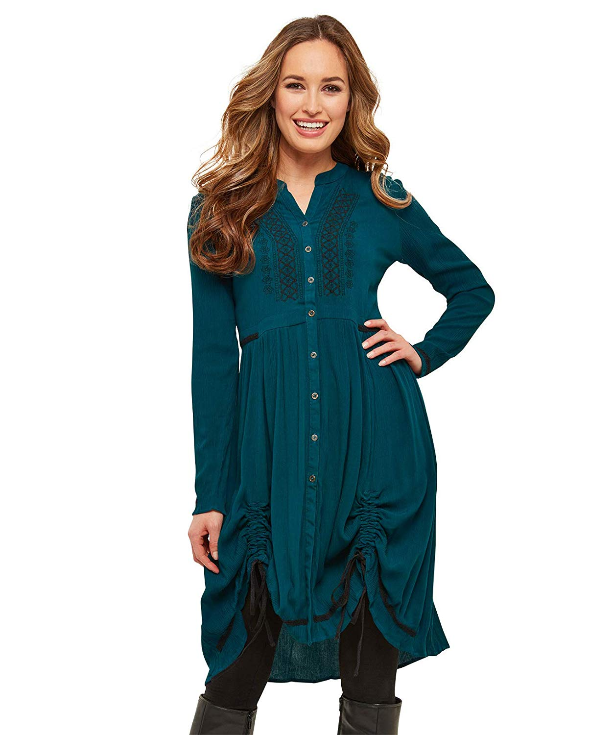 SL1457 Ex Chainstore Turquoise Hitched Crinkle Shirt Dress x15