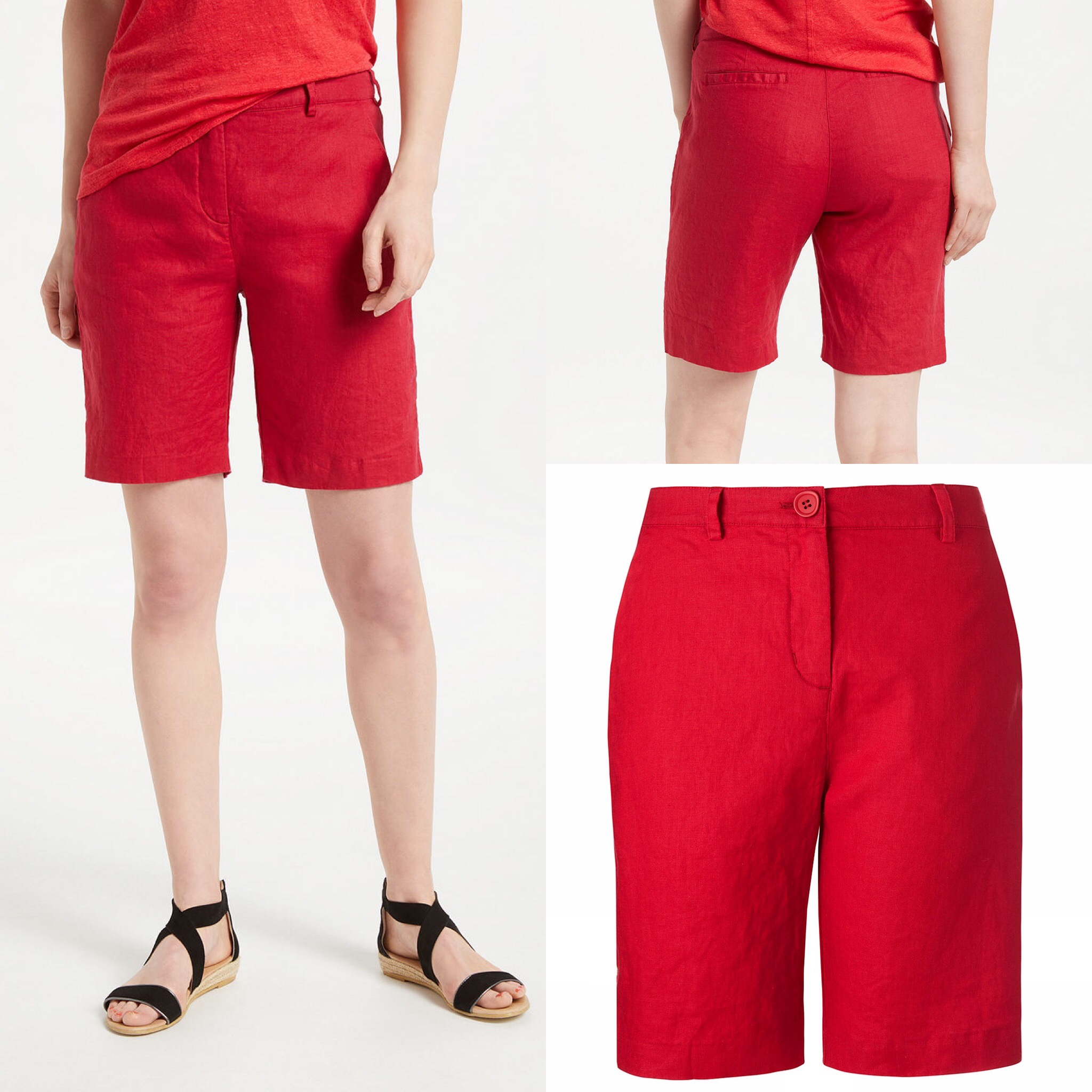 SL1443 Ex Chainstore Red Pure Linen Pocket Shorts x13