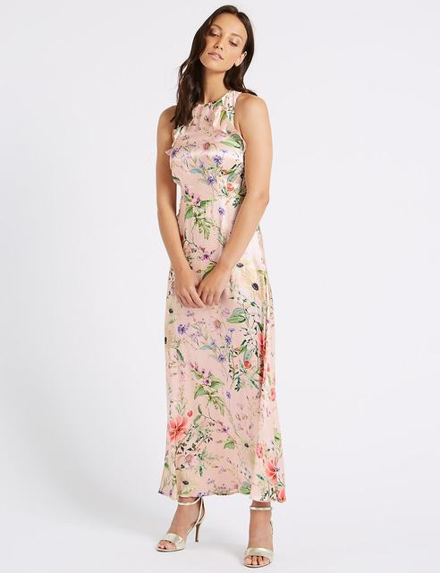 SL1173 Ex Chainstore Floral Print Satin Bodycon Maxi Dress x16