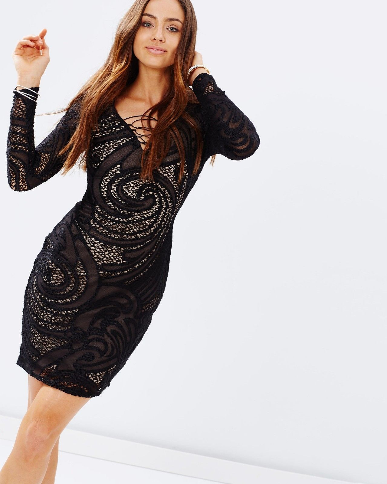 SL1411 Ex Chainstore Black Long Sleeve Lace Dress x12