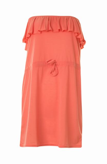 SL710 Ex UK Chainstore Coral Frill Bandeau Dress x17