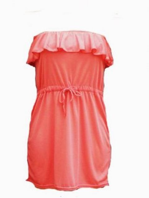 SL001 Ex UK chainstore Coral Frill Dress x17
