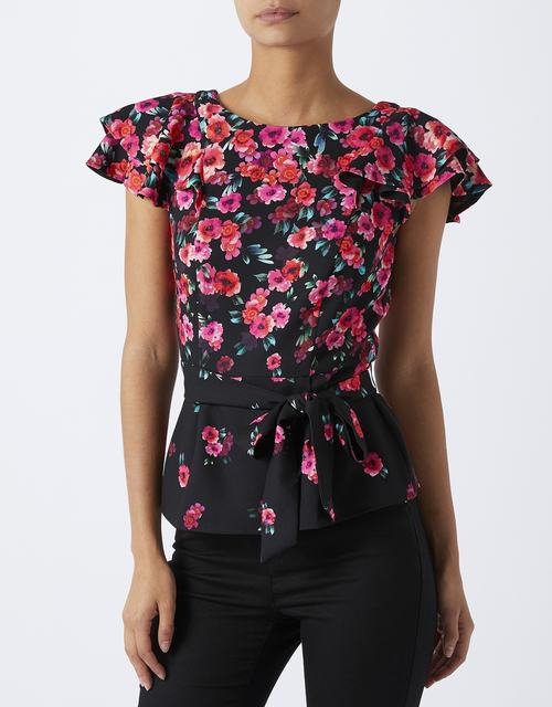 SL1128 Ex UK Chainstore Eva Poppy Print Belted Top (x13)