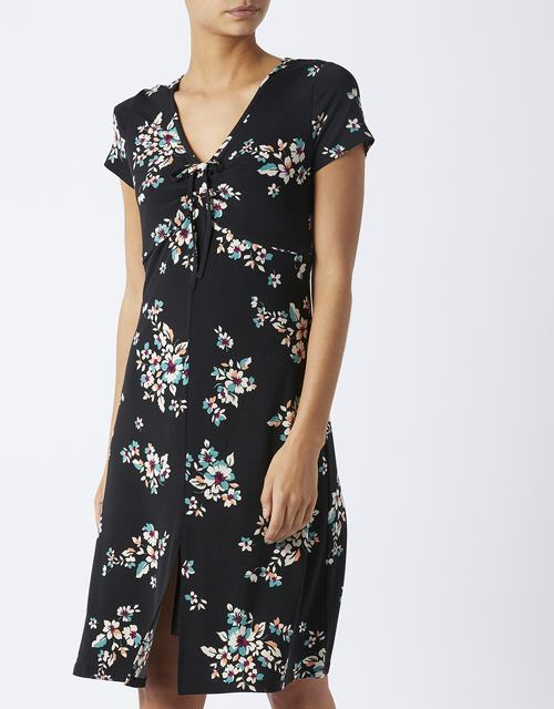 SL1119 Ex UK Chainstore Black Orchid Print Tea Dress (x12)