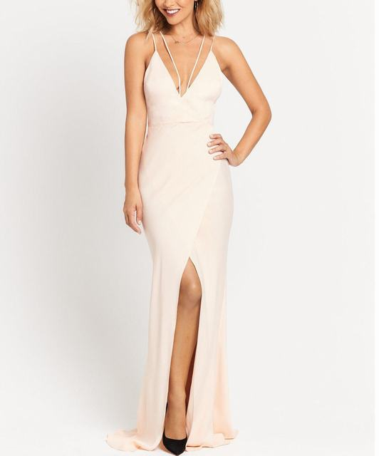 SL1171 Ex Chainstore Blush Strappy Back Slit Maxi Dress x7
