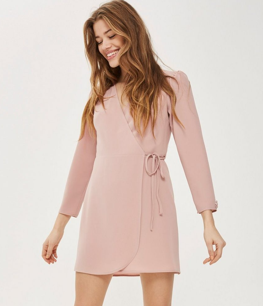 SL1175 Ex Chainstore Nude Crepe Mini Wrap Dress (x14)