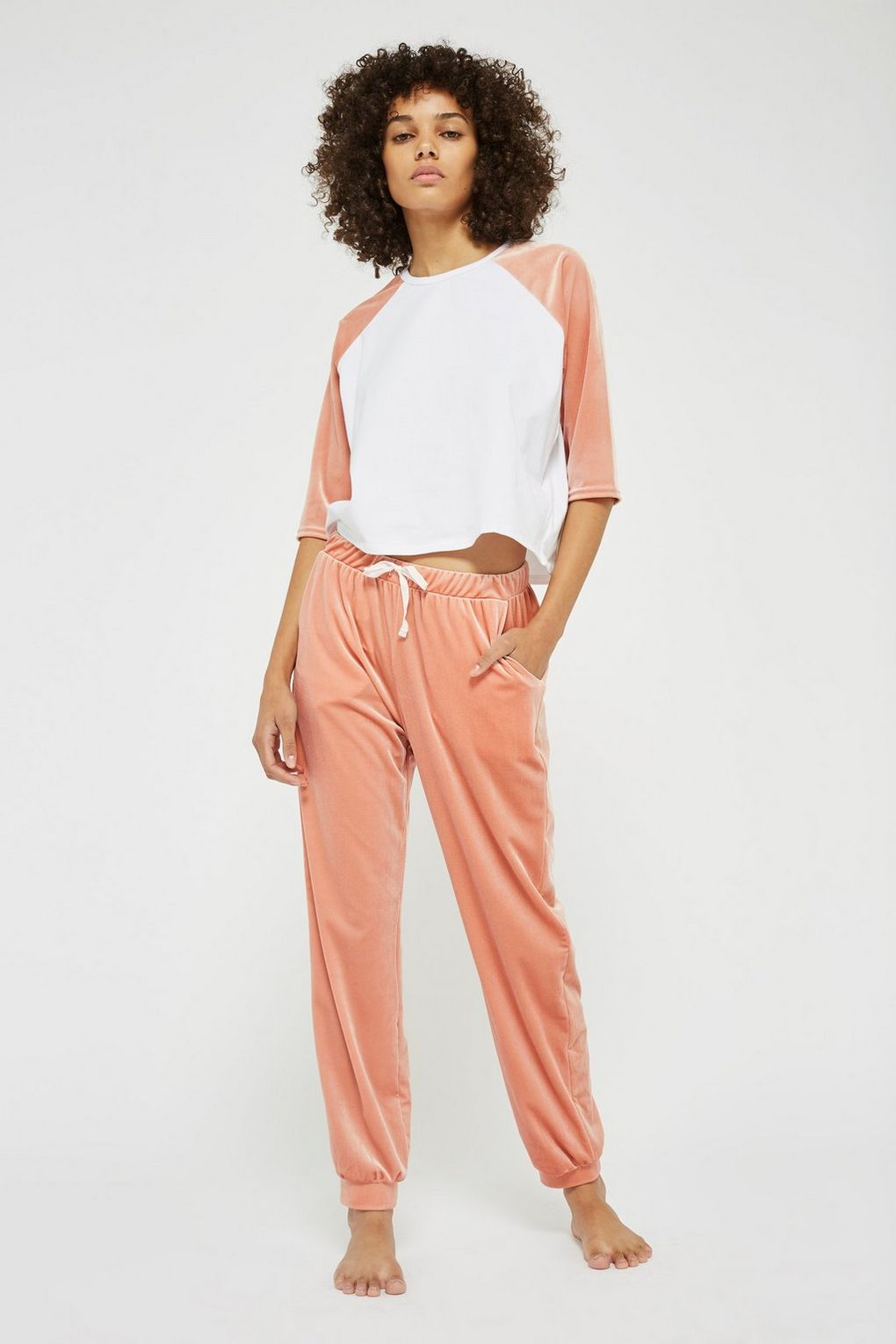SL1391 Ex Chainstore Velour Raglan Top And Joggers Pjs Set x10